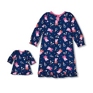 Toddler Girl Peppa Pig 2-piece Nightgown & Doll Gown Set