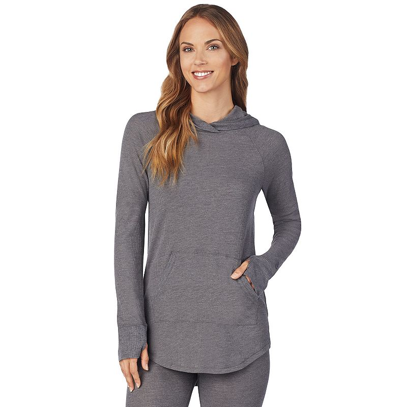 Women's Cuddl Duds Stretch Thermal Long Sleeve Hooded Tunic, Size: Small, Dark Grey