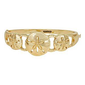 Napier Gold Tone Sand Dollar Hinge Bracelet