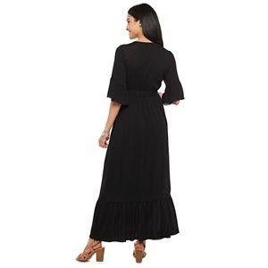 Women's Citrus & Lemon Faux Wrap Maxi Dress