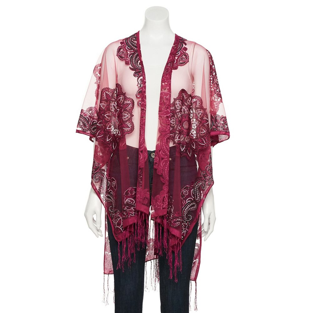 Women's SO® Burnout Floral Lace Kimono