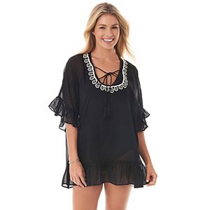 Women's PB Sport Ruffle & Embroidered Swim Cover-Up