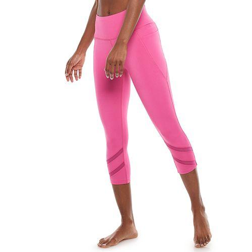 Women's Adrienne Vittadini Powermesh Striped Capri Leggings