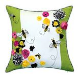 Edie@Home Bees & Flowers Dimensional Throw Pillow
