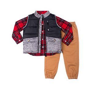 Baby Boy Little Lad 3 Piece Puffer Vest Set