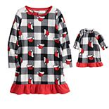 Girls 4-16 Jammies For Your Families® Jolly Santa Microflecee Dorm Nightgown & Doll Dress Pajama Set