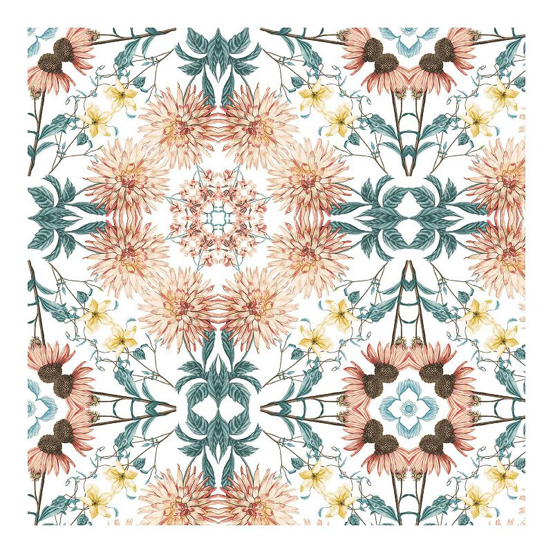 RoomMates Cottage Garden Kaleidoscope Peel & Stick Wallpaper. Multicolor
