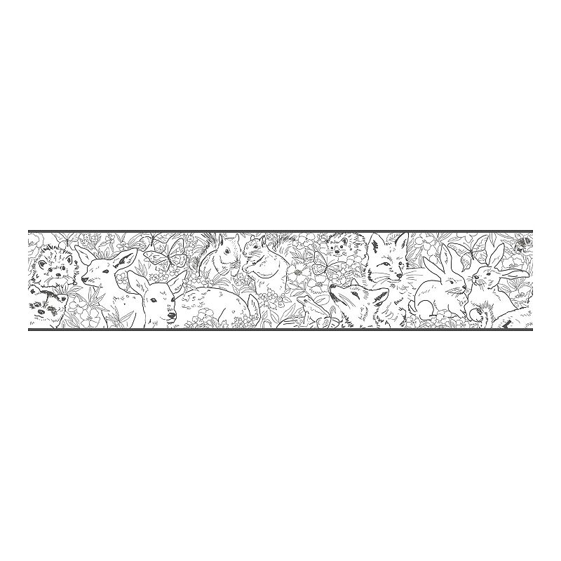 RoomMates Woodland Sketch Peel & Stick Wallpaper Border. Multicolor