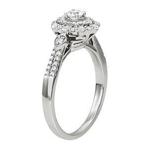 Simply Vera Vera Wang 14k White Gold 1/2 Carat T.W. Diamond Double Halo Engagement Ring