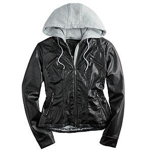 Juniors' Jou Jou Hooded Faux-Leather Jacket