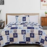 Great Bay Home Caspian Patchwork Coastal Quilt and Sham Set