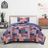 Great Bay Home Spencer Plaid Patchwork Quilt and Sham Set