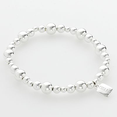 Chaps Silver-Tone Beaded Stretch Bracelet