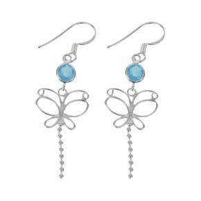 Sterling Silver Cubic Zirconia Butterfly Drop Earrings