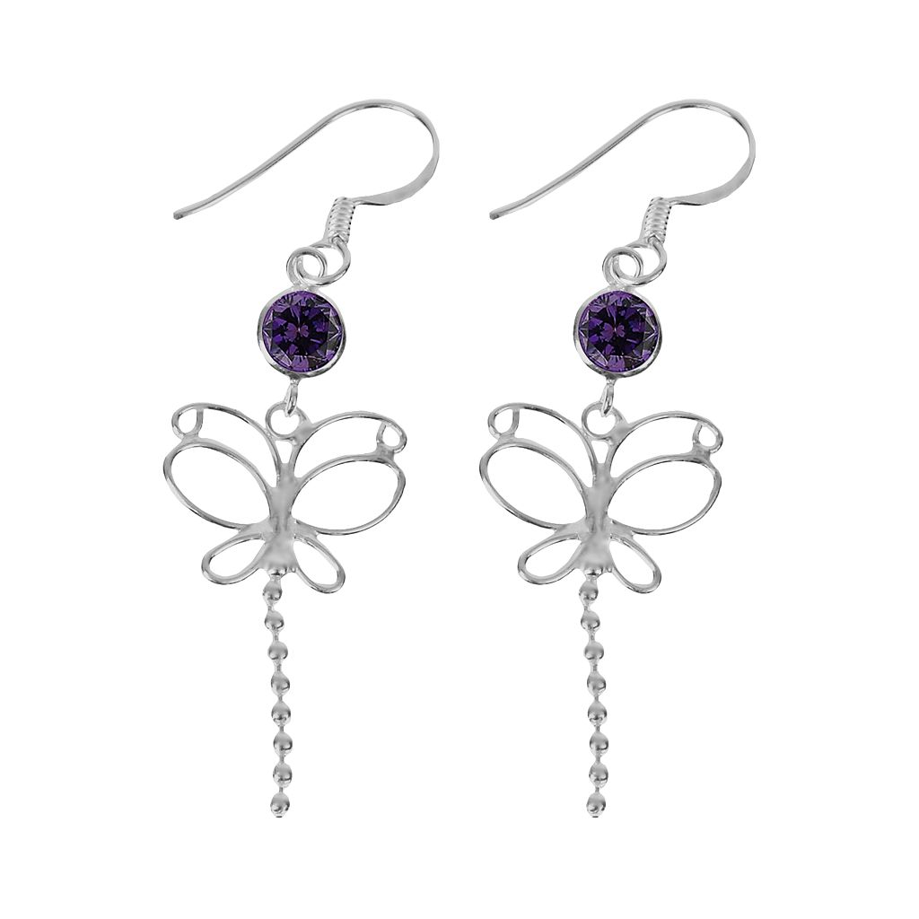 Sterling Silver Cubic Zirconia Butterfly Drop Earrings