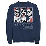 Men's Batman Harley Quinn Vintage Portrait Panel Sweatshirt