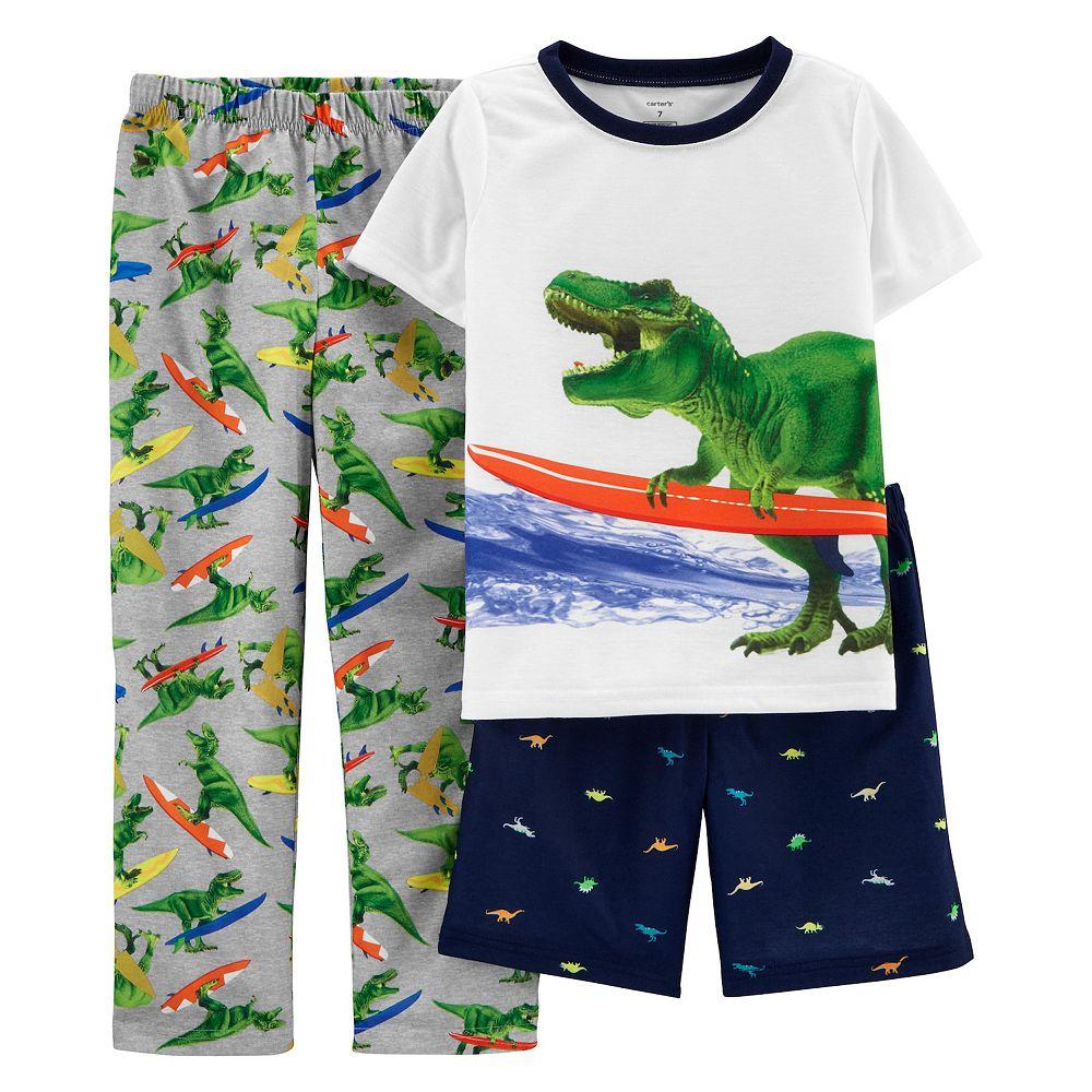 Boys 4-12 Carter's Dinosaur Top, Shorts & Pants Pajama Set