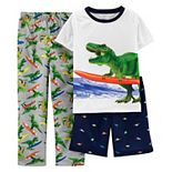 Boys 4-12 Carter's Dinosaur Top, Shorts & Pants Pajama Set
