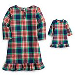 Toddler Girl Jammies For Your Families® Navy Notch Nightgown & Doll Dress Set