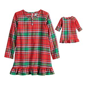 Toddler Girl Jammies For Your Families® Jingle All The Way Plaid Nightgown & Doll Pajama Set