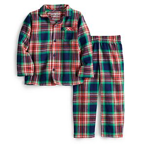 Toddler Jammies For Your Families® Navy Notch Flannel Top & Pants Pajama Set