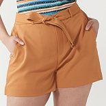 Plus Size Nine West Belted Flat Front Shorts