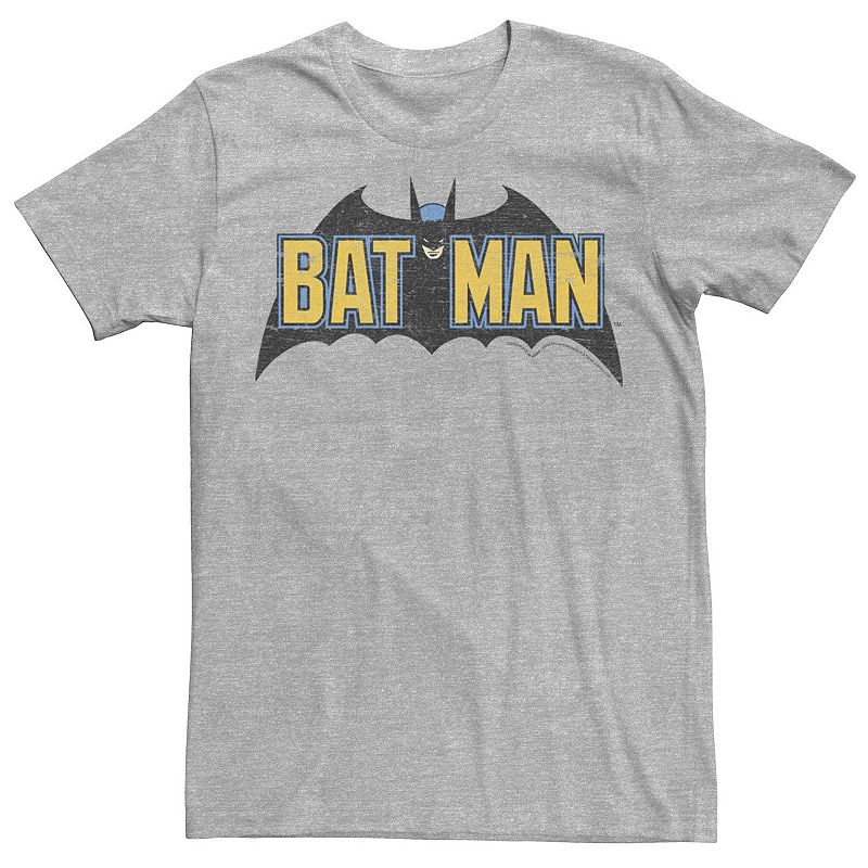 Men's DC Comics Batman Distressed Vintage Text Logo Tee. Size: Small. Grey