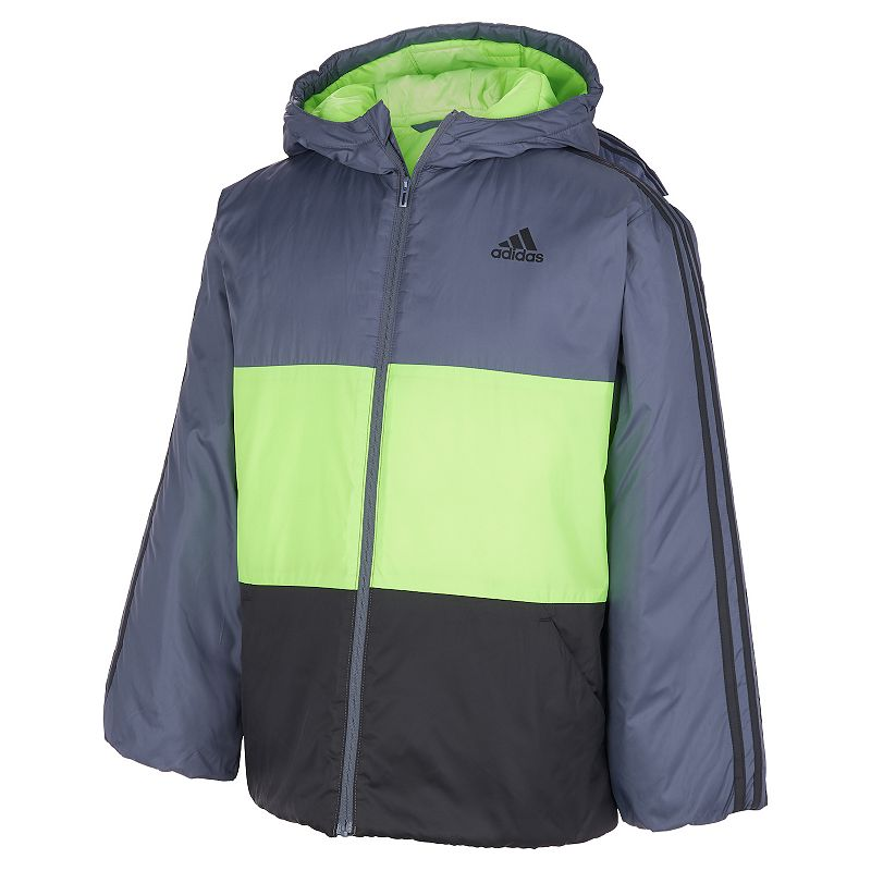 Boys 8-20 adidas Insulated Colorblock Jacket, Boy's, Size: Large(14/16), Med Grey