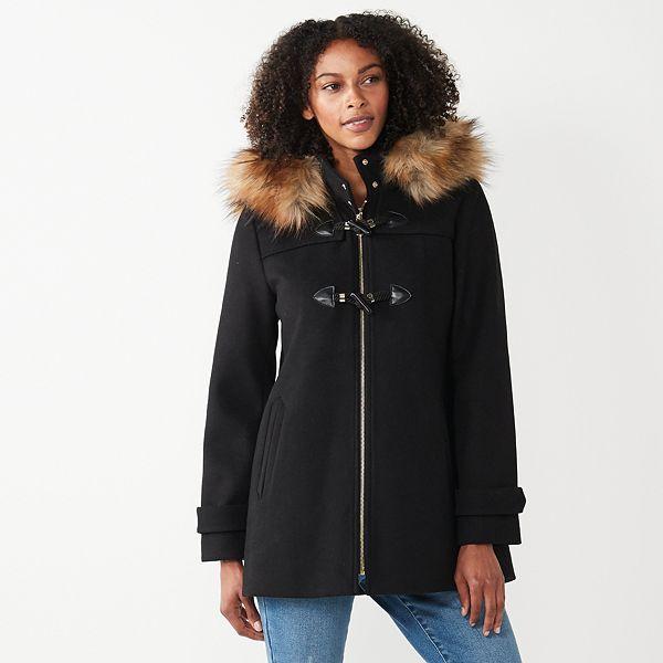 Women S Nine West Faux Trim Hood Wool, Women S Black Hooded Wool Winter Coat