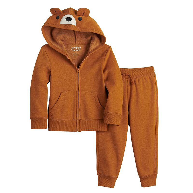 Toddler Boy Jumping Beans Bear Zip Hoodie & Joggers Pants Set, Toddler Boy's, Size: 5T, Drk Orange