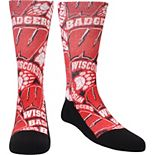 Youth Rock Em Socks Wisconsin Badgers Logo Sketch Crew Socks