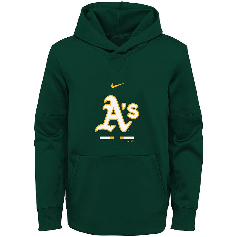 Youth Nike Green Oakland Athletics Fleece Performance Pullover Hoodie. Boy's. Size: YTH Large
