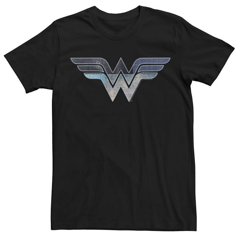 Men's DC Comics Wonder Woman Patchwork Logo Tee, Size: Large, Black