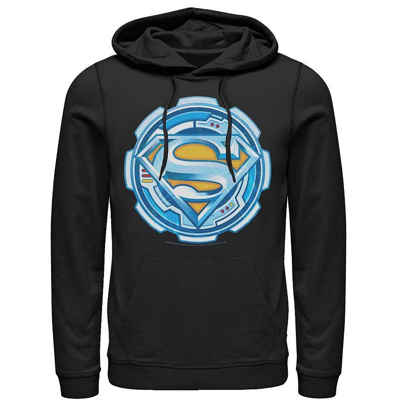 Men's DC Comics Superman Chrome Gear Chest Logo Hoodie, Size: Medium, Black