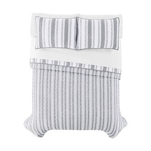 The Big One® Reversible Stripes + Plaids Quilt and Sham Set