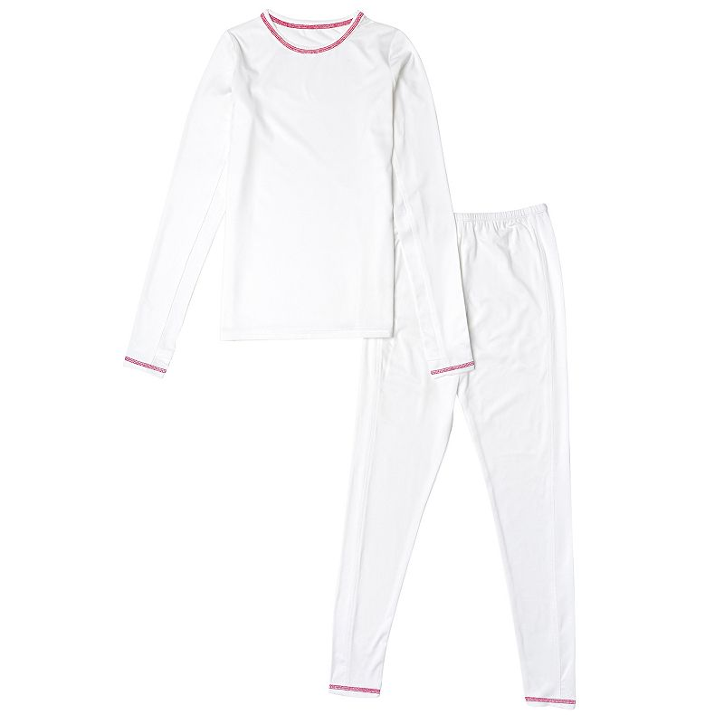 Girls 4-16 Cuddl Duds Comfortech Stretch Poly 2-Piece Base Layer Set, Girl's, Size: 14-16, White