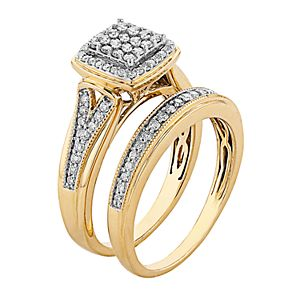 Always Yours 14k Gold Over Silver 1/2 Carat T.W. Diamond Engagement Ring Set