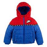 Toddler Boy Nike Sherpa Hooded Zip Puffer Midweight Jacket