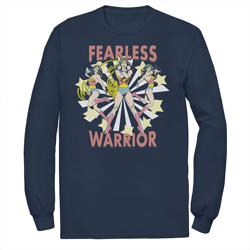 Men's DC Comics Wonder Woman Fearless Warrior Retro Tee, Size: Medium, Blue