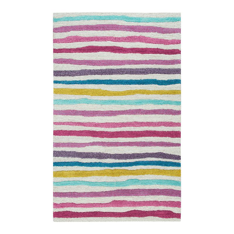 Rizzy Home Playday Multi Color Stripe Wool Area Rug, 3X5 Ft