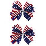 Americana Ribbon Bow Hair Clips