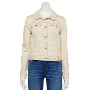 Juniors' Mudd® Sherpa Collar Twill Jacket