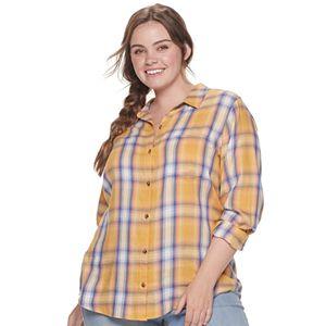 Juniors' Plus SO Button Down Shirt