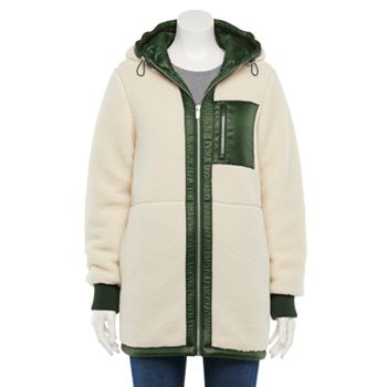 Womens Green with Envy Reversible Sherpa Puffer Coat