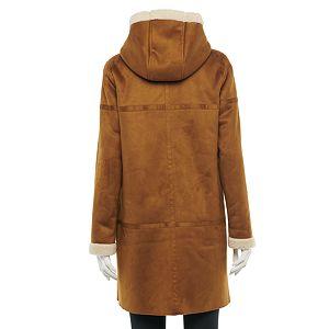 Women's Green with Envy Faux-Sherpa Hood Faux-Suede Coat