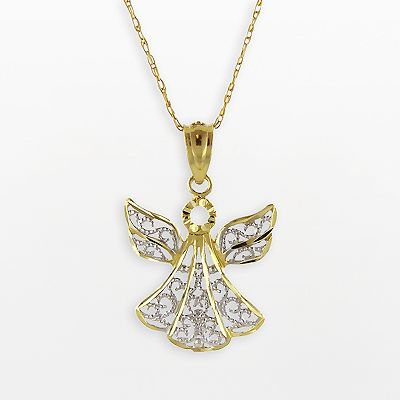 10k Gold Two Tone Angel Pendant