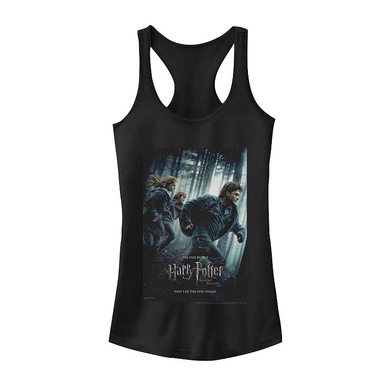 Juniors' Harry Potter Deathly Hallows Group Shot Poster Tank Top, Girl's, Size: Large, Black
