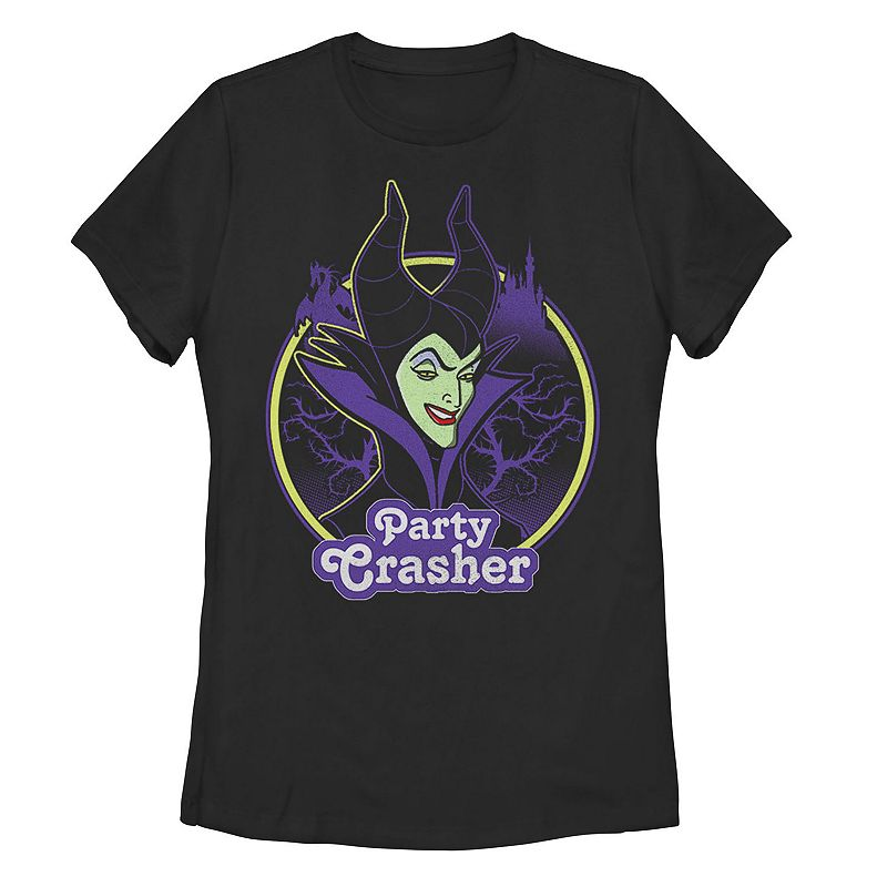 Juniors' Disney's Sleeping Beauty Maleficent Party Crasher Tee, Girl's, Size: XXL, Black