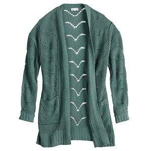 Juniors' SO® Long Sleeve Drop Shoulder Pointelle Stitch Cardigan