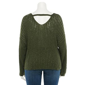 Juniors' SO® Plus Size Bar Back Pullover Sweater